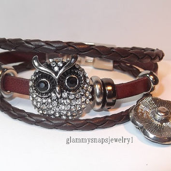 Leather noosa style bracelet 1 snap  with stainless steel closure glammy snaps jewelry Fit on popular brand name snap jewelry accessories