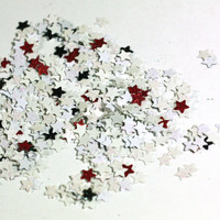 Red, Black, and White Small Star Glitter Table Confetti - Party Favors, Wedding Decorations - 1 bag