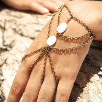 Slave Bracelet Hand Bracelet 10% PRE FALL SALE Hipster Bronze Chain Bohemian Two Mother of Pearl Bead Two Triangle  Ring Hand Jewelry Piece