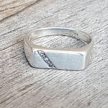 Vintage Signet Ring , Sterling Silver , Mens Signet Ring , Unisex  , Ladies Signet Ring