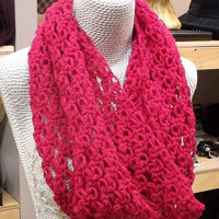 FLASH SALE - Expires on Oct 14 - Infinity Scarf, Lace Fuchsia Chunky Cowl Scarf, Handmade Crochet  #sale #discount #flashsale #scarf #cowl #