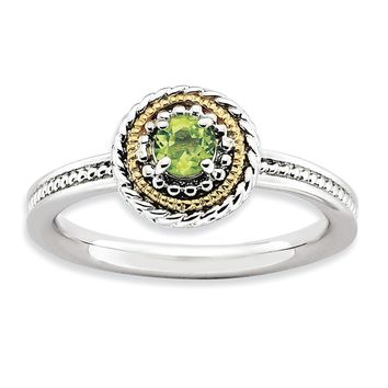 Sterling Silver & 14K Gold Plated Stackable Peridot Ring