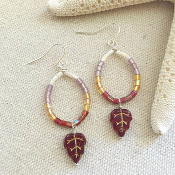 Burgundy Fall Earrings - Fall Leaf Earrings - Burgundy Chandelier Earrings - Bohemian Hoop Earrings - Lightweight Hoop Earrings