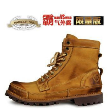 New 2015 Fashion High Quality Genuine Leather Men boots,  Outdoor Shoes Ankle leather Boots men Free Drop Shipping