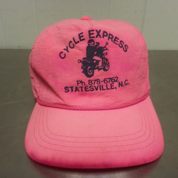 80's Cycle Express Pink Nylon Snapback Hat Statesville NC 1980's Motorcycle Scooters Local Piece Hipster Style
