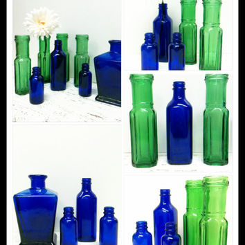 Cobalt Blue Glass,DIY Wedding,Blue and Green,Glass Lot,Emerald Green,Beach Wedding,Beach Decor,Cobalt Glass,Garden Wedding, Flower Vase