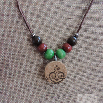 Christmas necklace Wine cork necklace Wood beaded necklace Unique jewelry (N022)