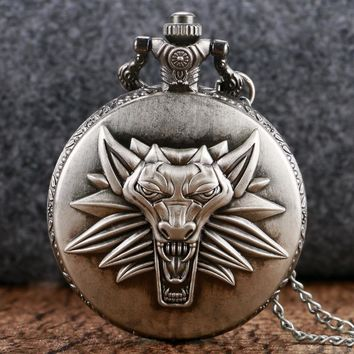 Vintage The Witcher 3 Wild Hunt Design Men Quartz Pocket Watch Cool Fob Watch With Chain montre gousset