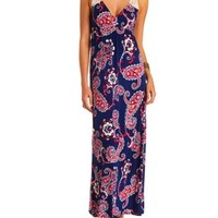 Crochet-Back Maxi Dress by Charlotte Russe - Navy Combo