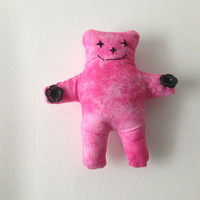 Cute Hand Made  Stuffed Teddy Bear Toy, Hot Pink- Mini Bear