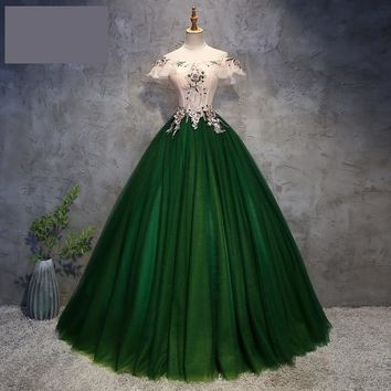 Green Cap Sleeve Quinceanera Tulle Masquerade Ball Gown Long Prom Dress