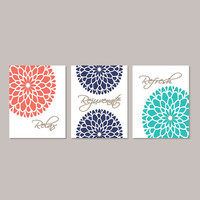 Floral Flower Flourish Artwork Set of 3 Trio Prints Relax Rejuvenate Refresh Coral Navy Sepia Turquoise Wall Art Decor Bathroom Home Picture