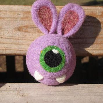 Easter Bunny Alien/one Eye Monster Needle Felted Rattle Ball   Made To Order