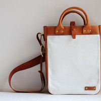 Hand Stitched Brown Leather And Canvas Shoulder Bag/ Tote Bag