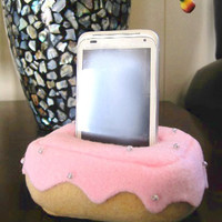 Plush Cell Phone, iPhone Holder Pouch Stand - Donut