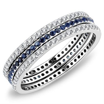 A Perfect Blue Sapphire & Russian Lab Diamond Eternity Stacking Rings