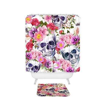 Colorful Skull Floral Bathroom Unique Cool Cloth Fabric Long Shower Curtains