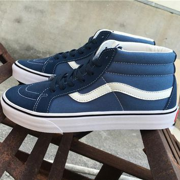 Vans Blue Mid Tops Flats Shoes Canvas Sneakers Sport Shoes