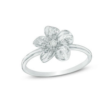 Diamond Accent Flower Ring in Sterling Silver - Save on Select Styles - Zales