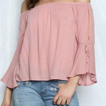 2018 Pink Draped Lace-up Off Shoulder Backless Sweet Going out Blouse