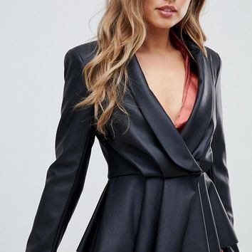 ASOS DESIGN peplum leather look blazer with pleat detail | ASOS