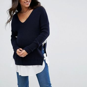 ASOS Maternity NURSING Bow Side Sweater at asos.com