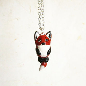 Baby Fox Necklace, Cute polymer clay pendant