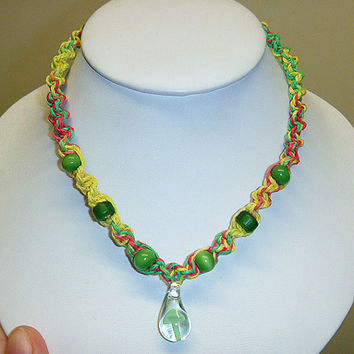 Rasta  Spiral Hemp Necklace with Green  Glass  Mushroom Pendant and Beads