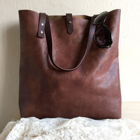 Distressed Leather Tote Bag,Brown Leather Purse,Genuine Leather Bag,Boho Tote Bag,Brown leather Bag,Distressed Leather Handbag,Brown Tote