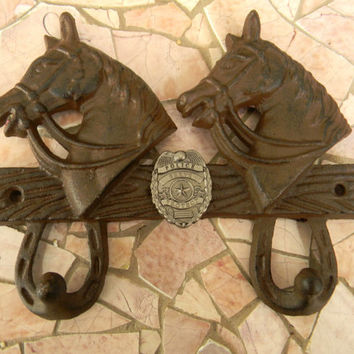Cast Iron Police Double Wall Hook, Police Officer Western Horse , Police Decor, Kids Room Decor,Home Decor,Policeman Gifts, Law Enforement