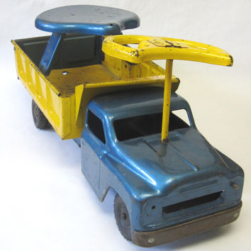 Structo Sit-N-Ride Vintage Metal Toy Truck, 1960s Blue Yellow Toy Dump Truck