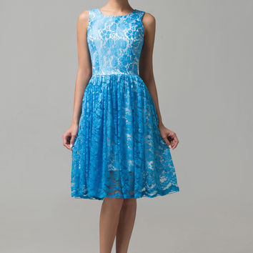Blue Sleeveless Floral Lace Cutout Mini Cocktail Dress