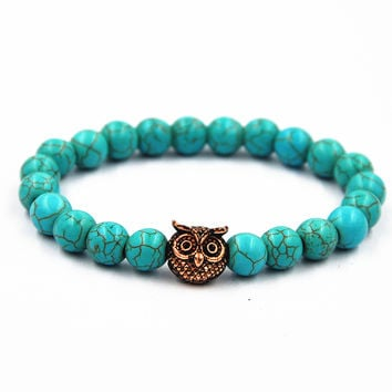 Awesome Shiny Hot Sale Stylish Gift New Arrival Great Deal Handcrafts Jewelry Turquoise Owl Bracelet [4970308228]