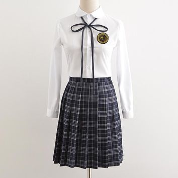 high school korean japanese school uniform girl sailor uniform cotton short Long sleeve school uniform women girl japanese style