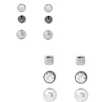 FOREVER 21 Architectural Stud Set Silver/Clear One
