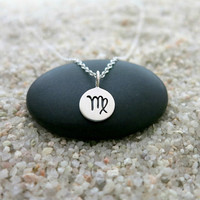 Virgo Necklace, Sterling Silver Virgo Zodiac Charm, Zodiac Jewelry, Sun Sign Necklace