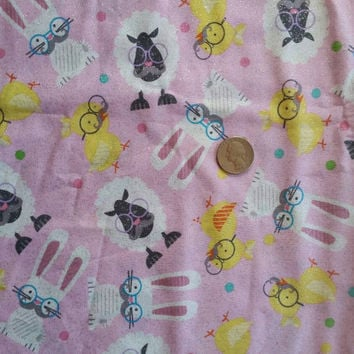 Easter fabric with sheep lamb bunny bunnies chicks mustache glasses eggs glitter cotton quilt print sewing material crafting by the yard