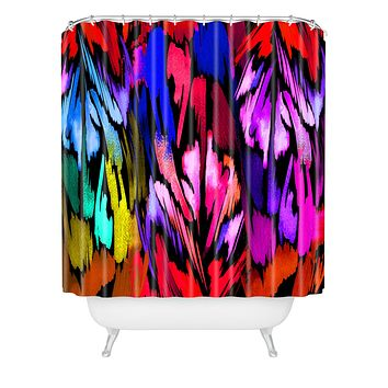 Holly Sharpe Feather Rainbow Shower Curtain