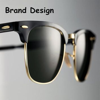 2018 Classic Men Half Frame Polarized Sunglasses Women Brand Designer Vintage Mirror Female Sunglass Male Sun Glasses For Women