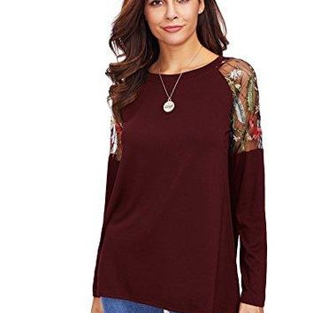 Floerns Womens Long Sleeve Floral Embroidered Mesh Casual TShirt Top