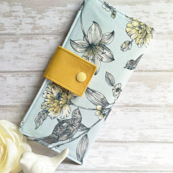 Grey Bird and Mustard Women's wallet, womans clutch wallet, credit card wallet, checkbook wallet, slim fabric wallet, handmade wallet, gift