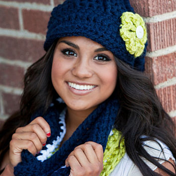 Seattle Seahawks Hat and Scarf Set- SAVE 8 DOLLARS- Seahawks Infinity Scarf and Newsboy Hat