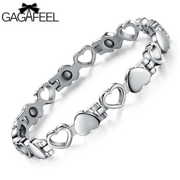 Fashion Men Women Titanium Steel Health Magnetic Bracelet Lovers Bangle Wristband Jewelry Gift B3162