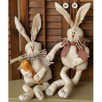 Rustic Bunny Couple Fabric Dolls with Poseable Ears and Carrot