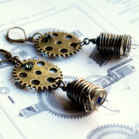 The Geek secret code 7216 - Blue - Steampunk Inspired dangle earrings - Wire wrapped light bulb and gears