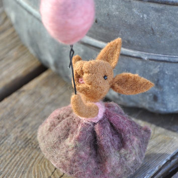Bunny  Rabbit  Needle felted Animal  pink by BearCreekDesign