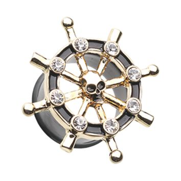 Golden Pirate Ship Anchor Wheel Ear Gauge Plug Surgical Steel