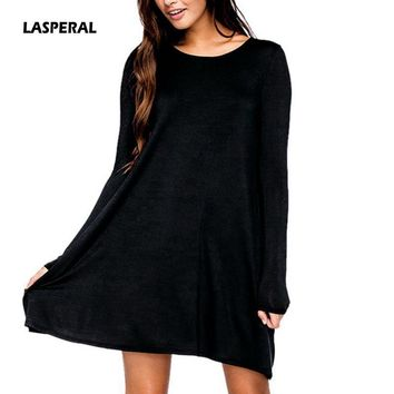 LASPERAL Plus Size Women Long Sleeve Solid Dress 2018 Spring Autumn O Neck Casual Loose Mini Dresses Pleated Mini Party Vestidos