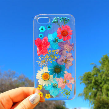 Hand Selected Natural Dried Pressed Flowers Handmade on Apple iPhone 6 / 6 Plus Crystal Clear Case: Colorful Mix Flower Design