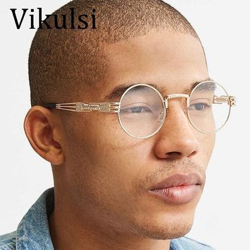 2017 Retro Glasses Gold Glasses Frames Eyeglasses For Women Vintage Steampunk Round Clear Fashion Glasses Men Male Nerd Metal